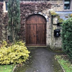 Dark Oak Barn Door With Wicket Door
